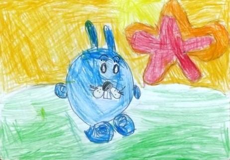 Вилисова Доминика, 7 лет – Крош на прогулке, Лягушка - квакушка. с.Берёзовка